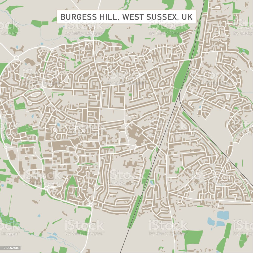Burgess Hill West Sussex UK City Street Map vector art illustration