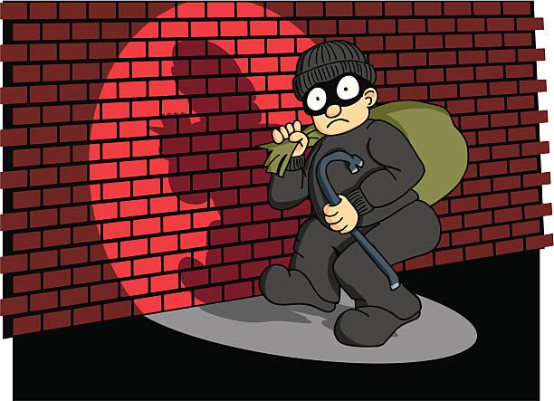 bildbanksillustrationer, clip art samt tecknat material och ikoner med burglar caught in the act 3 - gränd