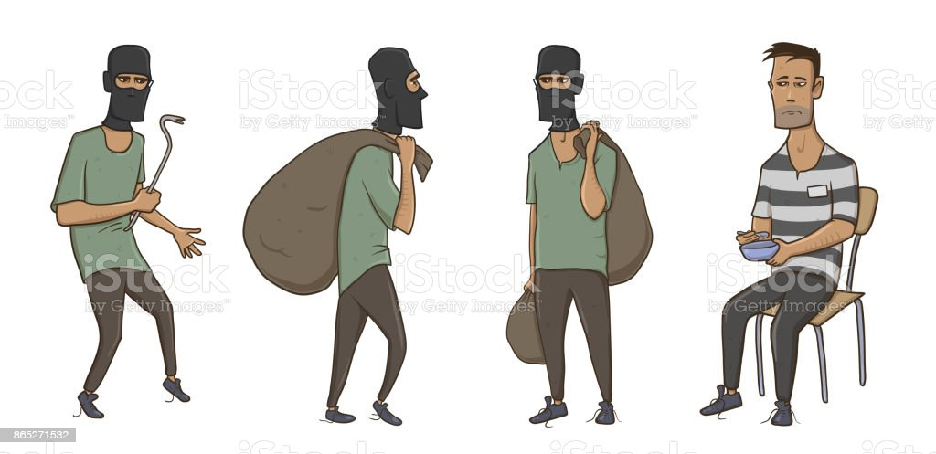 A burglar, robber, thief, man in balaclava mask with huge sack and crowbar. A criminal in prison in striped clothes. Vector Illustration, isolated on white background. vector art illustration