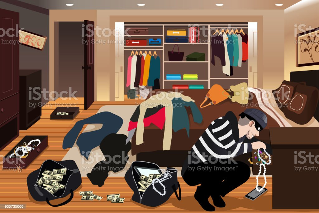 Burglar Stealing Jewelries From a House Illustration vector art illustration