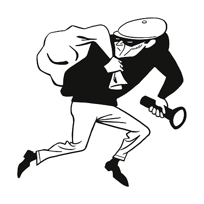 Burglar with Flashlight and Sack of Goods