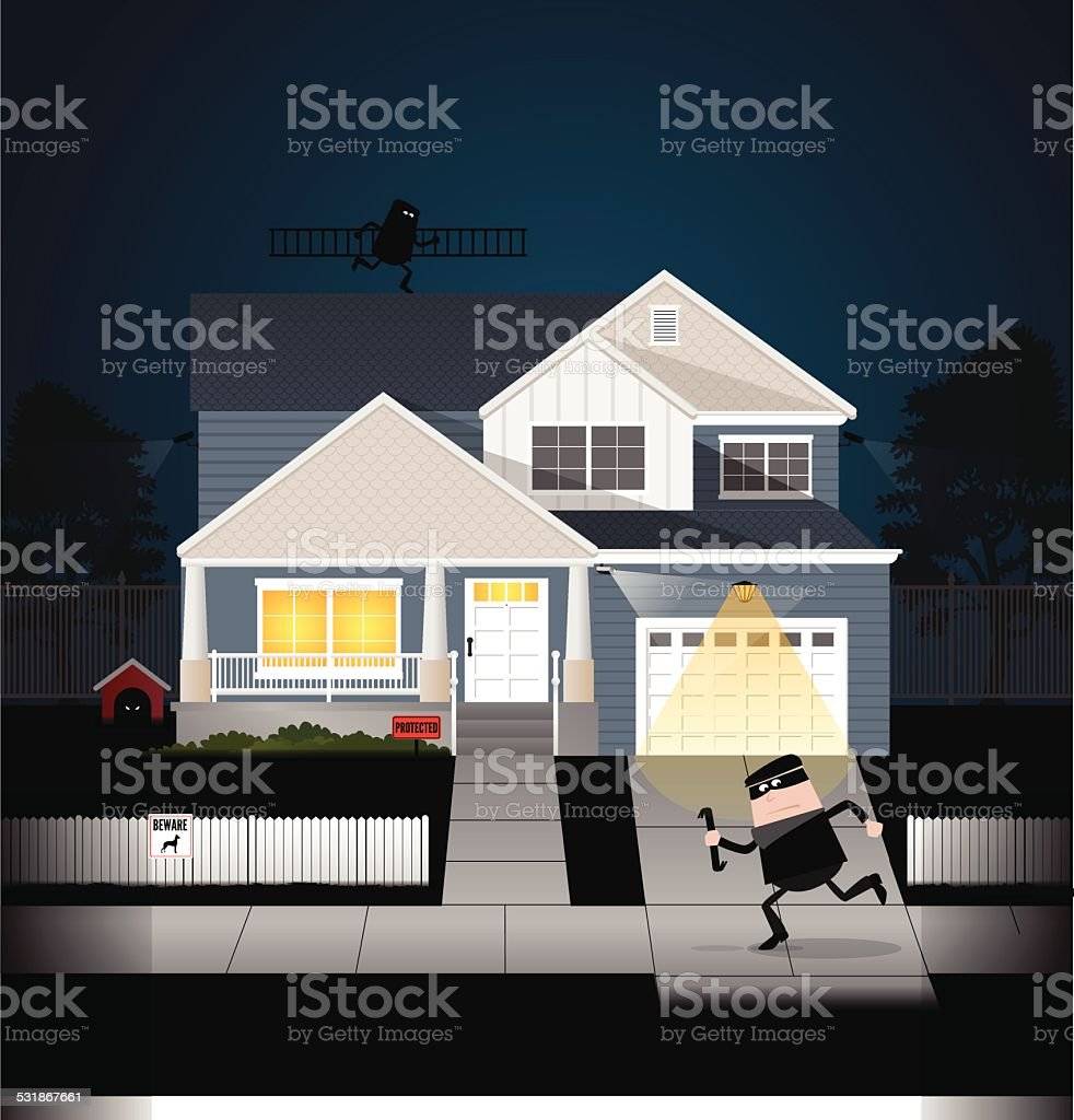 Burglars vector art illustration