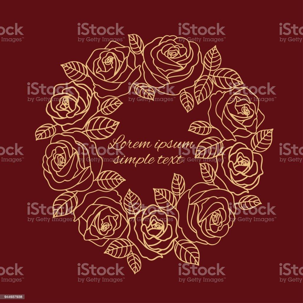 Burgundy Beige Outline Roses Wreath Wedding Invitation Stock Vector ...