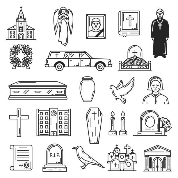 bildbanksillustrationer, clip art samt tecknat material och ikoner med begravning och grav ceremoni, begravnings ikoner - ljus på grav