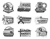 Funeral ceremony and hearse services isolated monochrome logos. Vector burial flowers and wreaths, crematory and orchestra music, testaments and coffins. Installation of monuments, church and angel