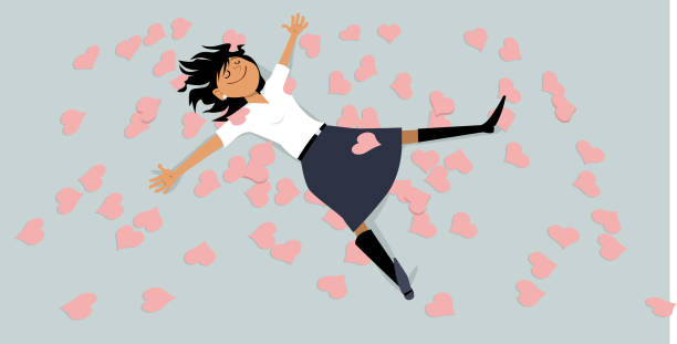 Buried in hearts Happy girl lying on a floor, covered with hearts, EPS 8 vector illustration hormone stock illustrations