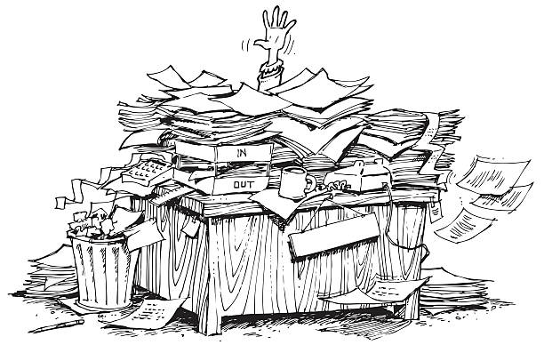 Royalty Free Buried In Paperwork Clip Art, Vector Images ...