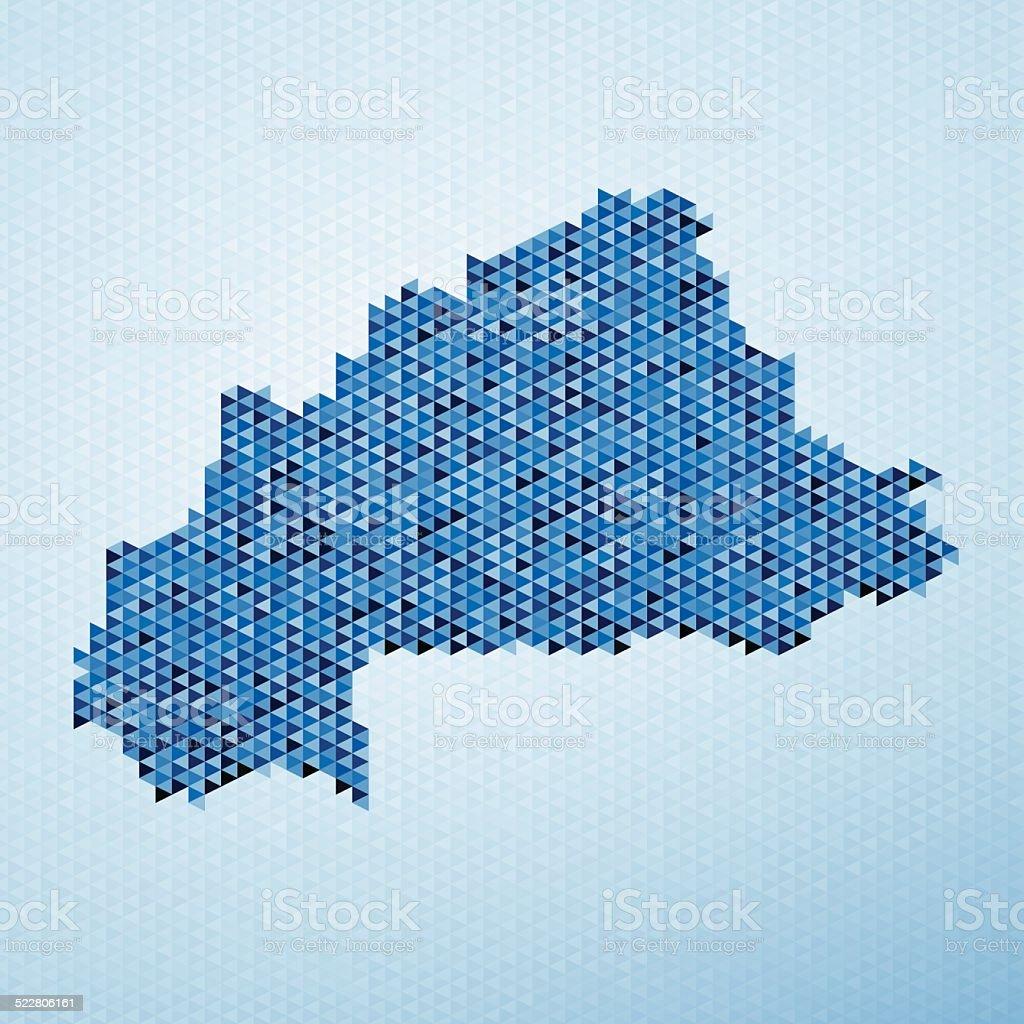 Burkina Faso Map Triangle Pattern Blue vector art illustration