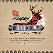 Christmas greeting design on burlap texture