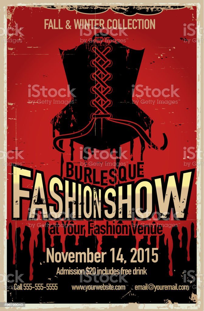 Burlesque fashion show poster design template vector art illustration