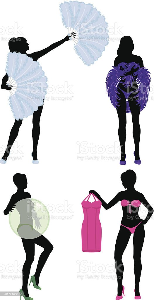 Burlesque Women Silhouettes vector art illustration
