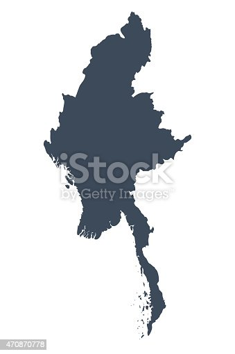 A graphic illustrated vector image showing the outline of the country Burma. The outline of the country is filled with a dark navy blue colour and is on a plain white background. The border of the country is a detailed path.
