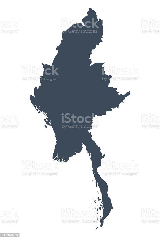 Burma country map vector art illustration