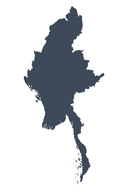 stockillustraties, clipart, cartoons en iconen met burma country map - myanmar