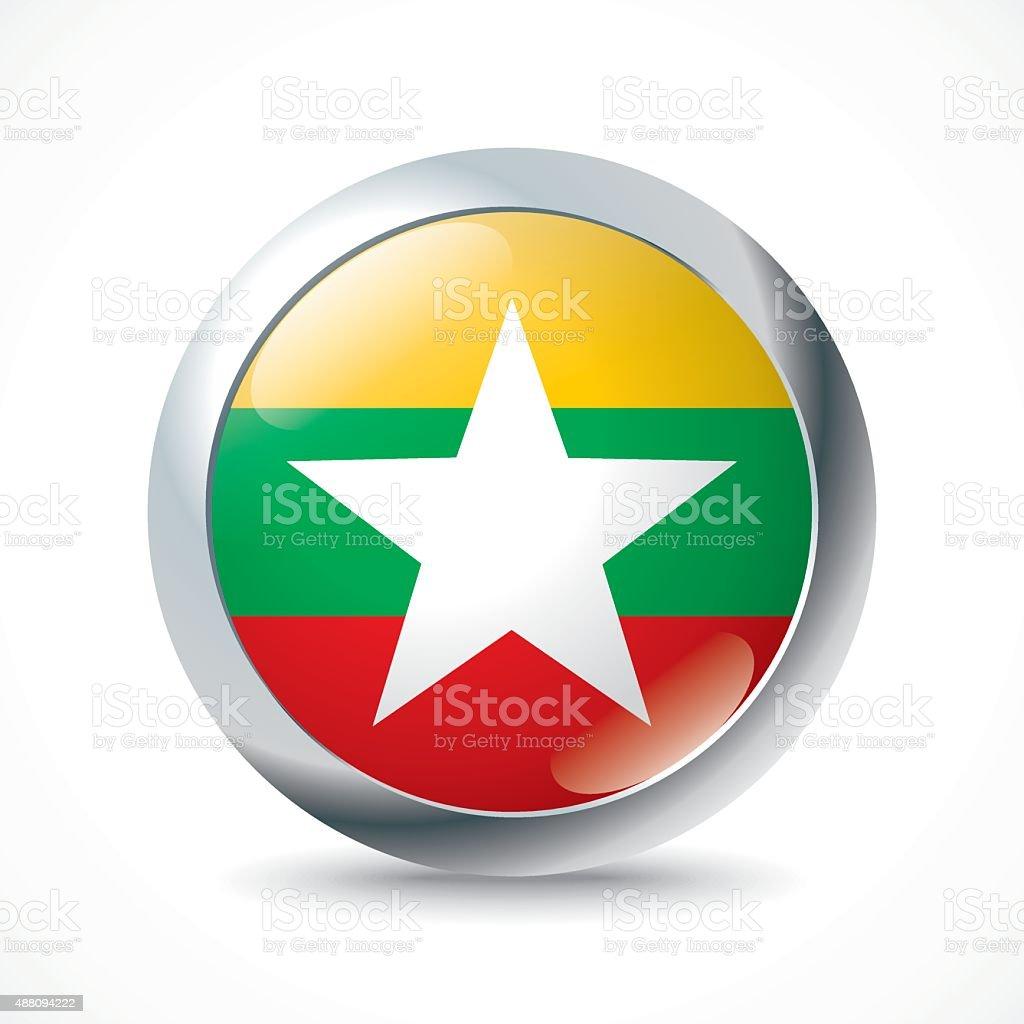 Burma flag button vector art illustration