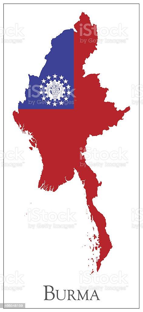Burma flag map vector art illustration