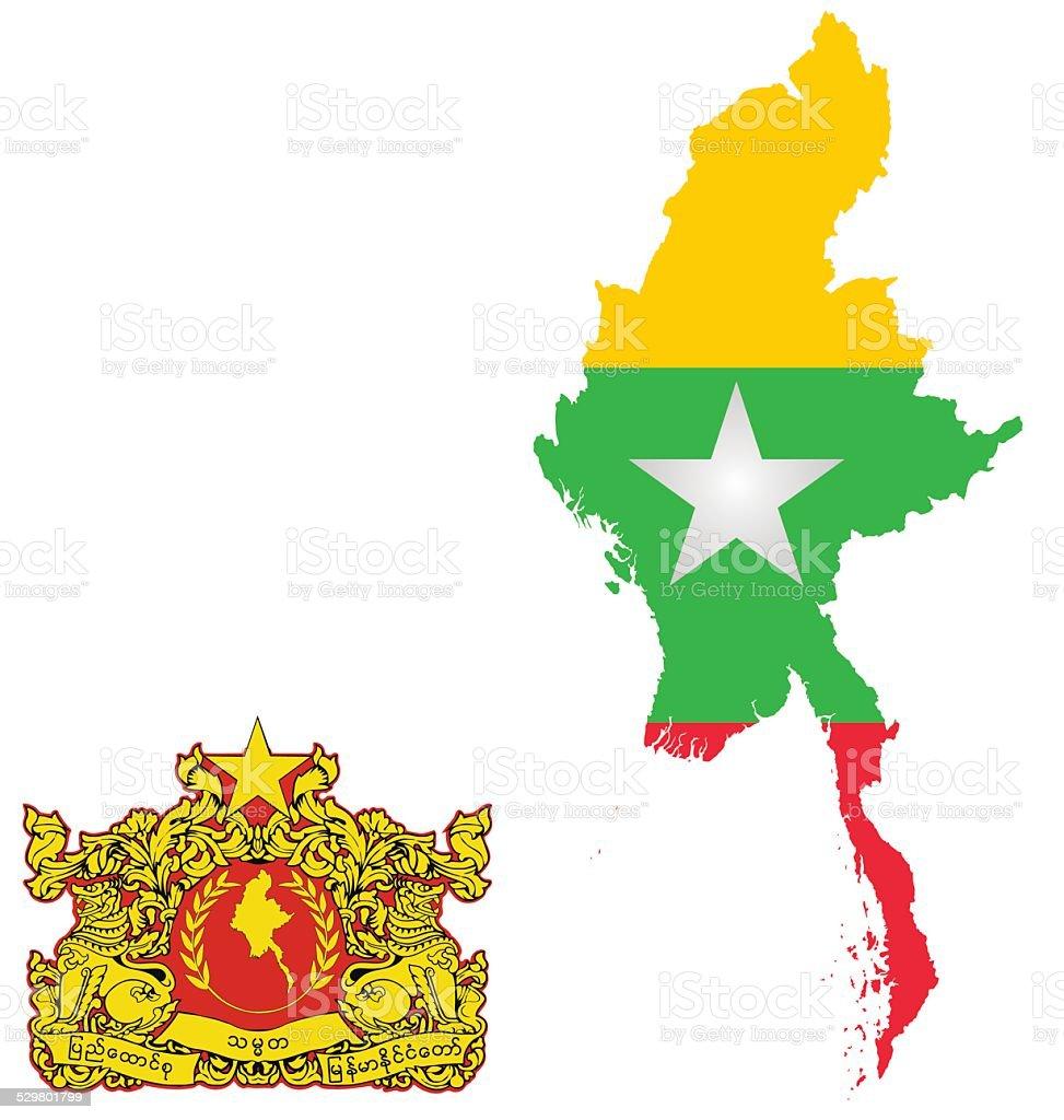 Burma Flag vector art illustration