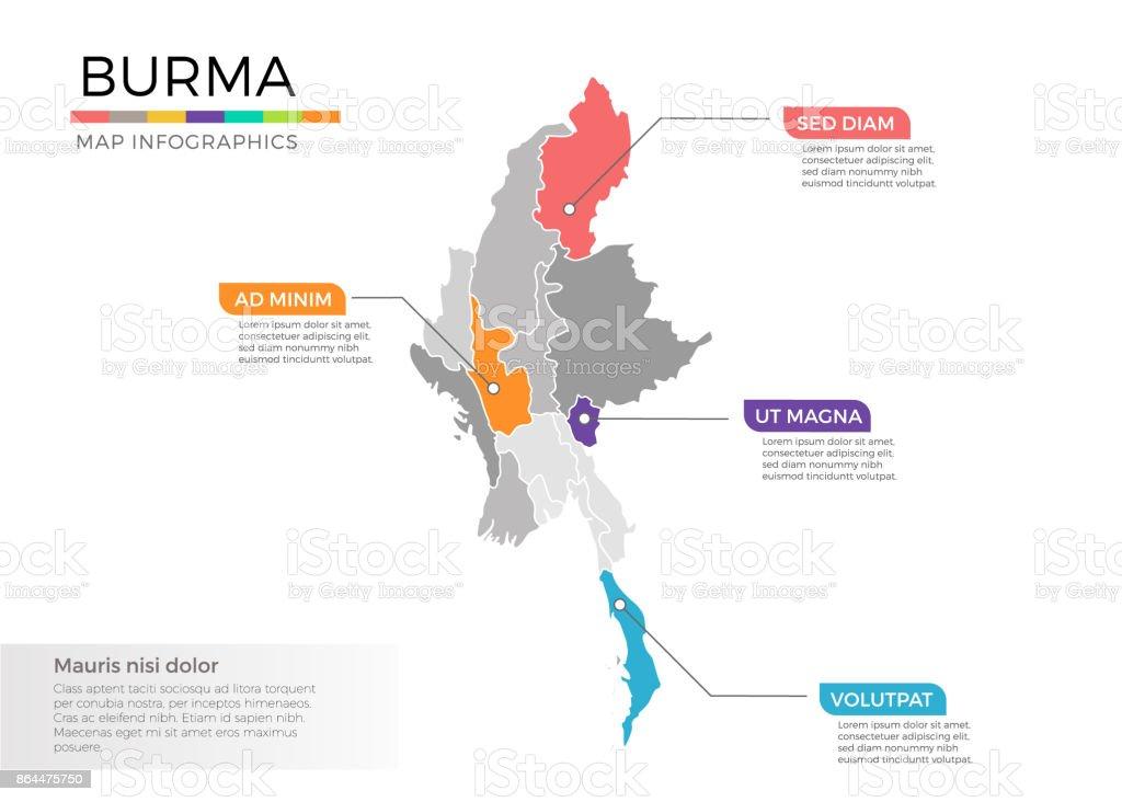 Birmanie Carte Regions.Modele De Birmanie Carte Infographie Vectorielle Du Pays Avec Les