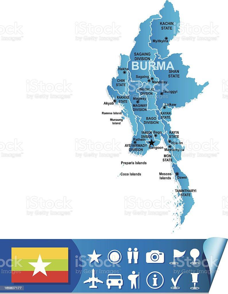 Burma map vector art illustration