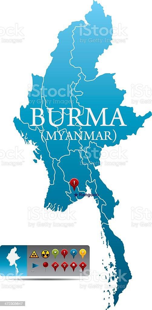 Burma map with navigation icons vector art illustration