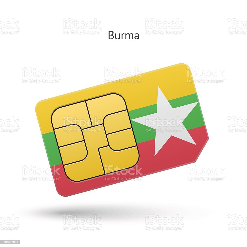 Burma mobile phone sim card with flag vector art illustration