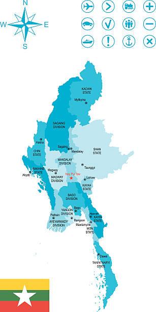 stockillustraties, clipart, cartoons en iconen met burma - myanmar