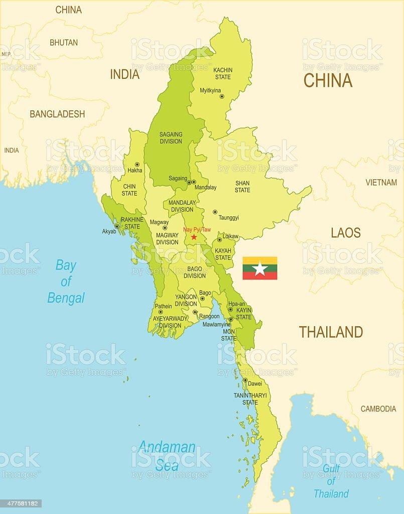 Burma vector art illustration