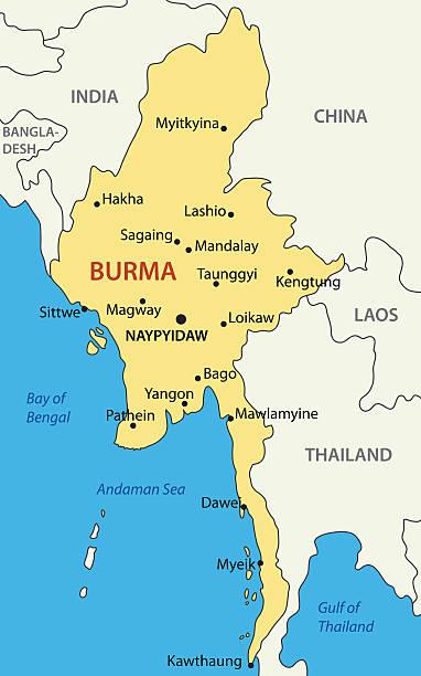 stockillustraties, clipart, cartoons en iconen met burma - vector map - myanmar