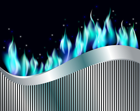 Burn blue gas flame fire with silver metal ribbon