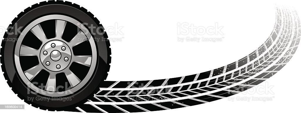 burn out wheel vector art illustration