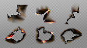 Burn paper corners, holes and borders, burnt page with smoldering fire on charred uneven edges, parchment sheets in flame. Burned frames isolated on transparent background. Realistic 3d vector set
