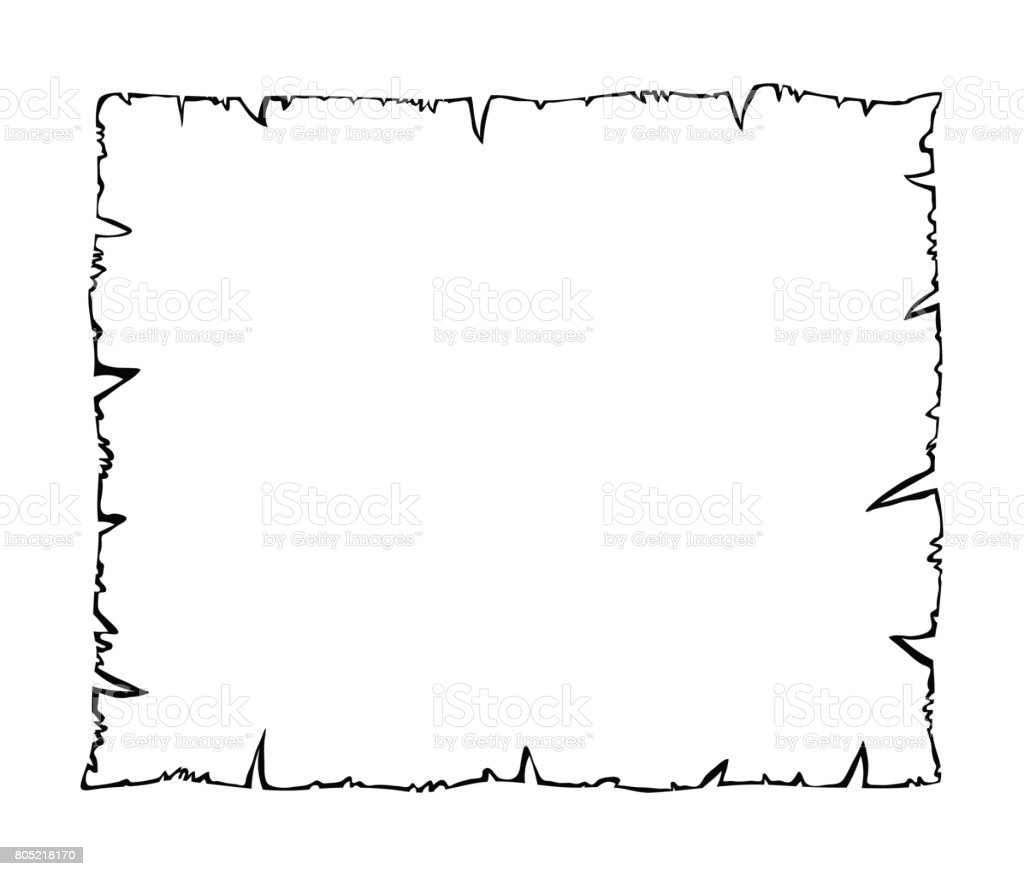 Burned Old Paper Parchment Outline Silhouette Vector ...