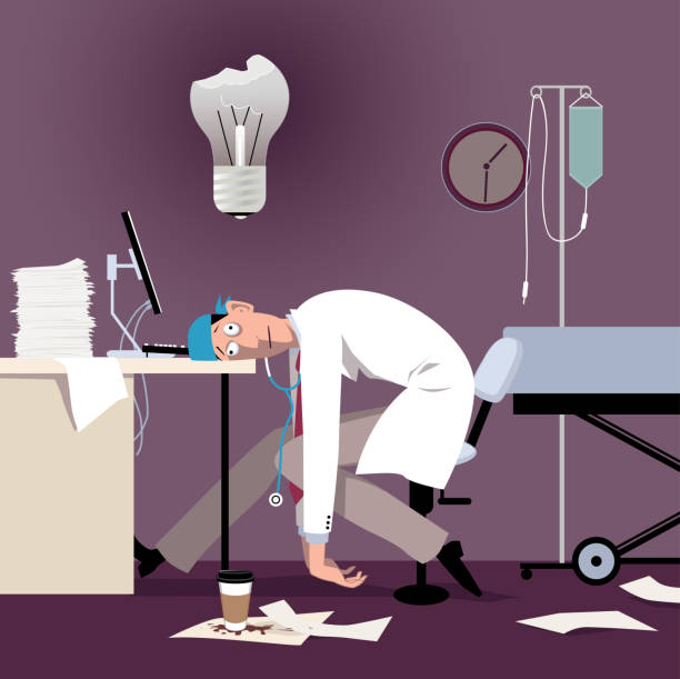 Burned out doctor Exhausted overworked doctor or intern sitting at the desk in a hospital, burned out light bulb above his head, EPS 8 vector illustration mental burnout stock illustrations