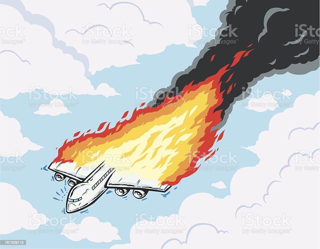 Burning airplane vector art illustration