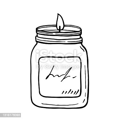 istock Burning aroma candle in a jar isolated on white background 1316178393