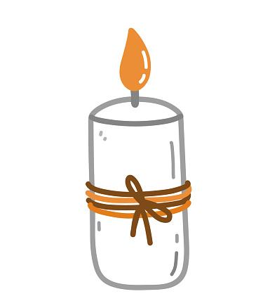 Burning aroma candle isolated on white background