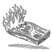 Hand-drawn vector drawing of a pack of Burning Banknotes. Black-and-White sketch on a transparent background (.eps-file). Included files are EPS (v10) and Hi-Res JPG.