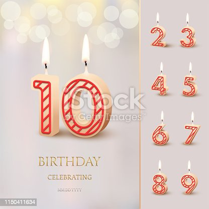 Burning Birthday candle in the form of number 10 figure and Happy Birthday celebrating text with numbers set isolated on blurred background. Vector Birthday invitation template