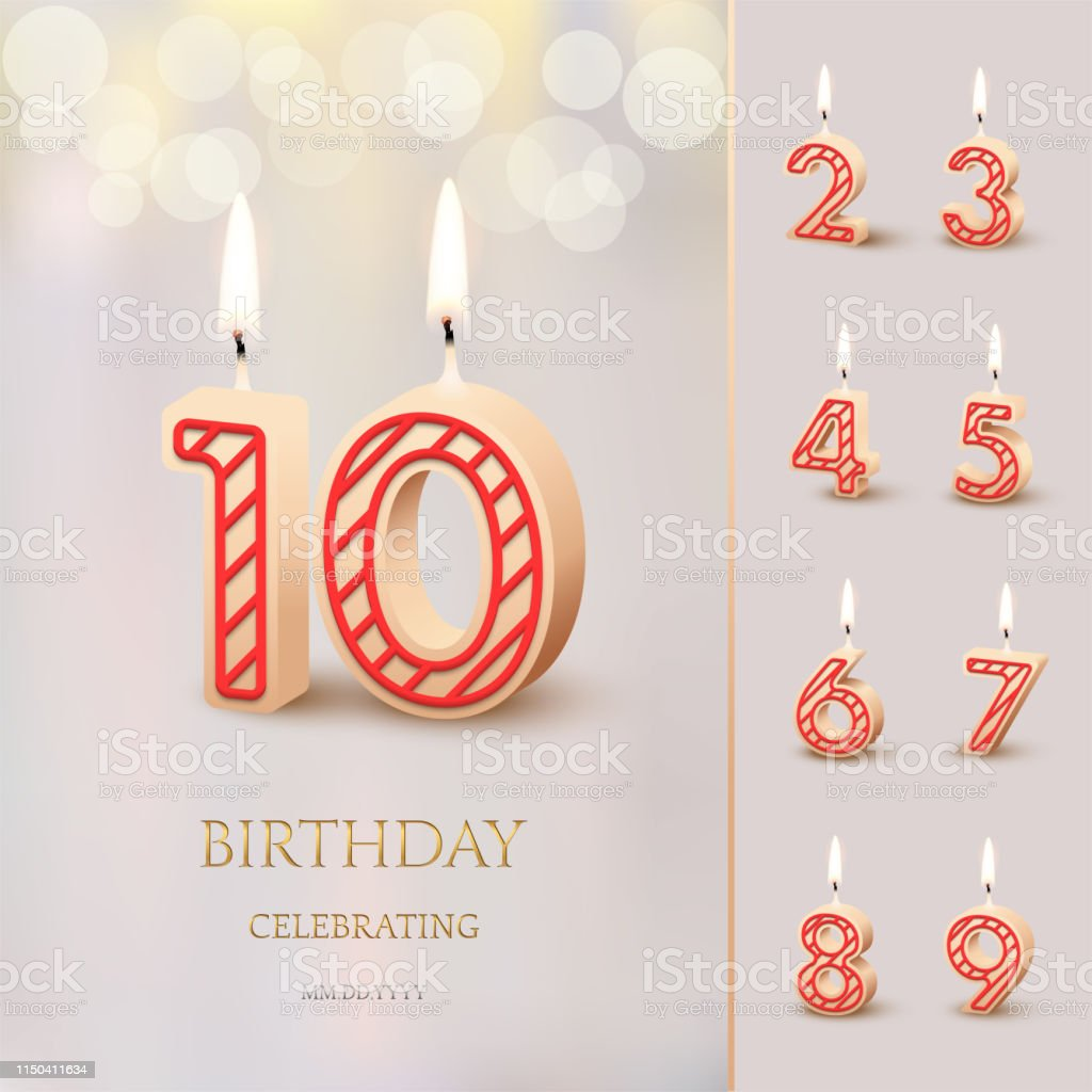 Burning Birthday candle in the form of number 10 figure and Happy Birthday celebrating text with numbers set isolated on blurred background. Vector Birthday invitation template. vector art illustration
