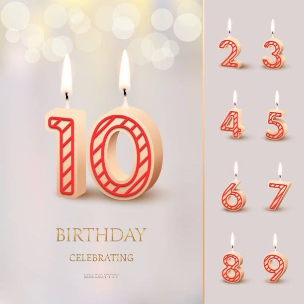 Burning Birthday candle in the form of number 10 figure and Happy Birthday celebrating text with numbers set isolated on blurred background. Vector Birthday invitation template. Burning Birthday candle in the form of number 10 figure and Happy Birthday celebrating text with numbers set isolated on blurred background. Vector Birthday invitation template gezond stock illustrations