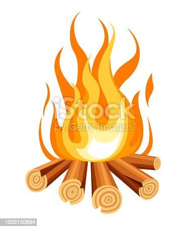 Burning bonfire with wood. Vector cartoon style illustration of bonfire. Isolated on white background.