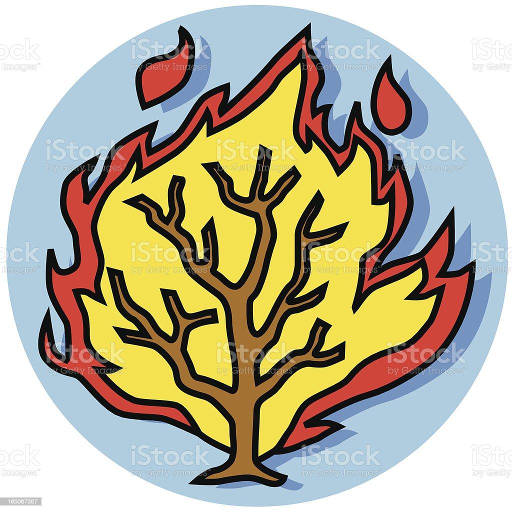 burning bush icon vector art illustration