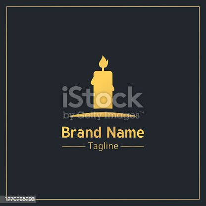 istock Burning candle golden serious symbol design template 1270265293