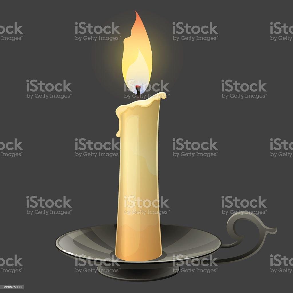 Burning candle in black metal candle holder vector art illustration