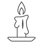 Burning candle thin line icon, New Year concept, candle sign on white background, Burning candle in candlestick icon in outline style for mobile concept and web design. Vector graphics