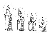 Hand-drawn vector drawing of a Burning Candle Time Lapse. Black-and-White sketch on a transparent background (.eps-file). Included files are EPS (v10) and Hi-Res JPG.