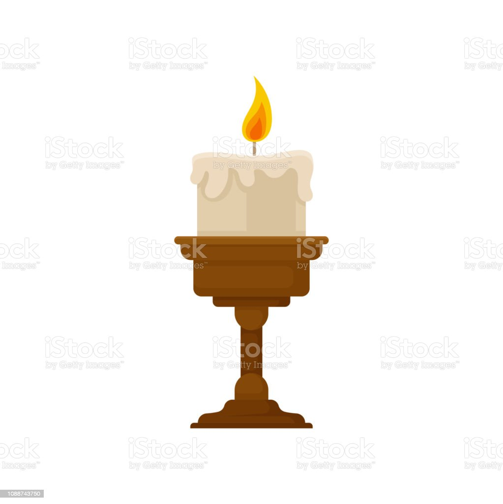 Burning Candle With Melting Wax On A Small Bronze Candlestick Vintage Candle Holder Vector Illustration On A White Background Stock Illustration Download Image Now Istock
