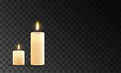Burning candles isolated on a transparent background. Vector illustration