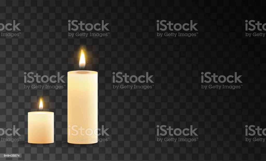 Burning candles isolated on a transparent background. vector art illustration