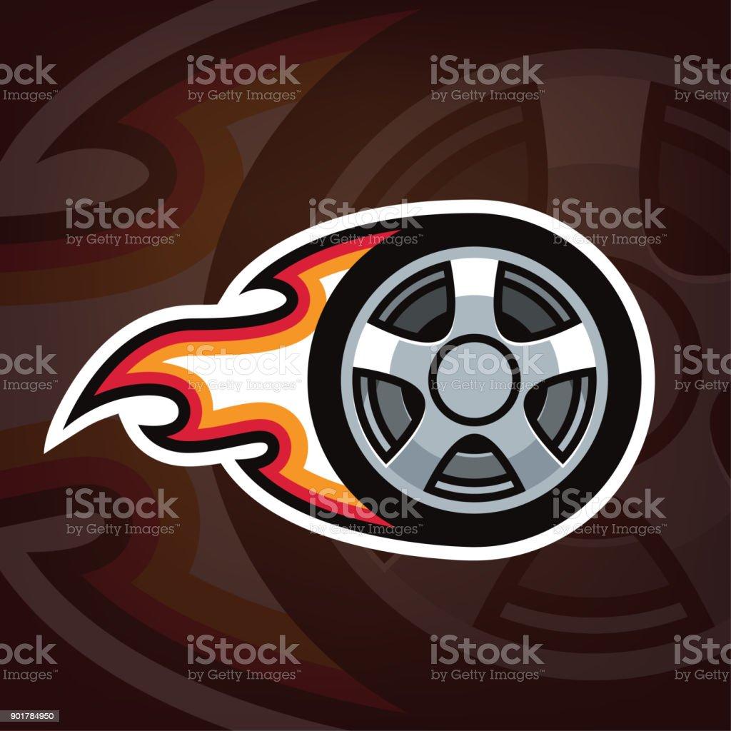 ilustração de Ícone de roda de carro projeto de queima roda de